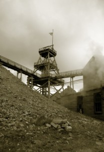 History gold mining tailings dump
